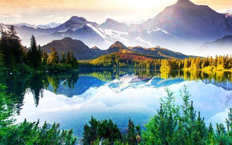 自然,湖,森林,山,美丽,天空,云,反射,捕鱼