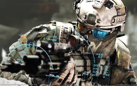 士兵,,射击,武器,瞄准