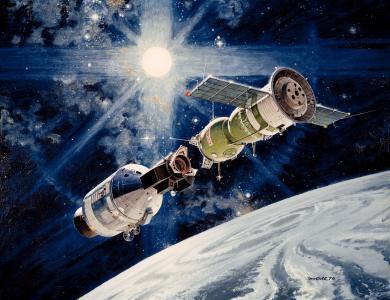 轨道,站,阿波罗 - 联盟-19,空间,对接