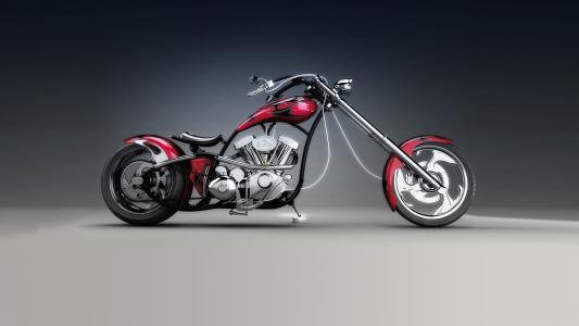 斩波器,自行车,红色,车轮,车轮,灯,背景,美丽
