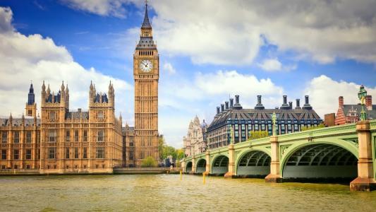 桥,伦敦,英格兰,云,钟楼,天空,蓝色,城市,大笨钟