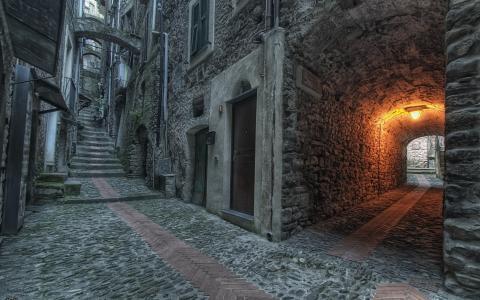 街,庭院,拱门,老城区