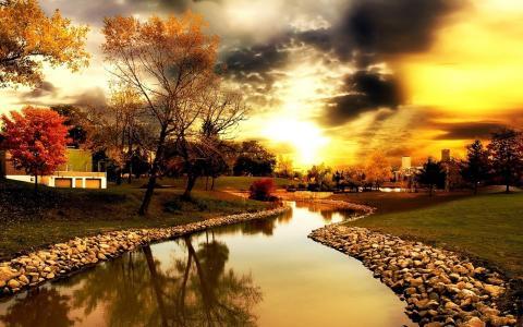 景观,河,运河,建设,树木,天空,地平线,城市
