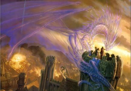 城市,火,人,精神,龙,塔,魔术