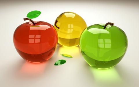3d,苹果,水晶,白色背景