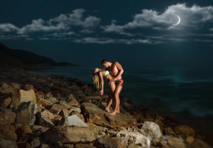 女孩,爱情,男人,自然,天空,夜晚,月亮,海洋