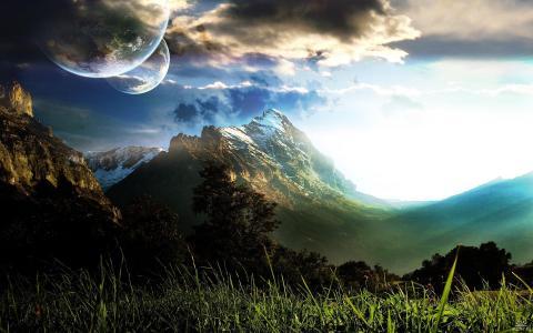 山,绿色,草,天空,路,树