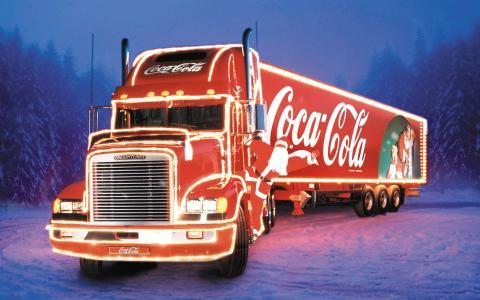 可口可乐,卡车,拖拉机,卡车,新的一年,灯