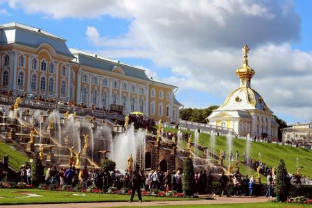 彼得夏宫,喷泉,圆顶,人,草,斜坡,宫殿