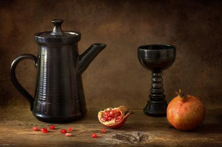 构成别致,石榴,碗,茶壶,美容,树