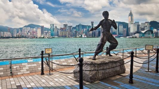 照片,中国,香港,城市,湾,演员,英俊,李小龙,山