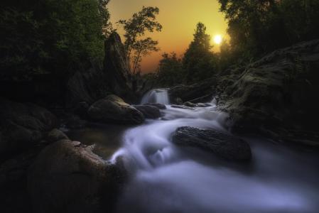 科西嘉岛,科西嘉岛,性质,景观,石头,河,树,流,太阳