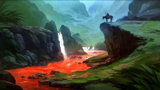 风景和自然壁纸»战士,血,河,马,性质,幻想,艺术
