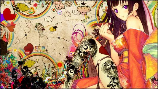 动漫,纹身,女孩,Snyp艺术