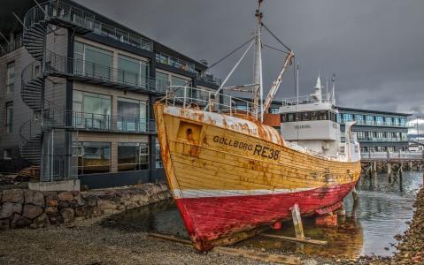 老渔船,海事博物馆,雷克雅未克,冰岛