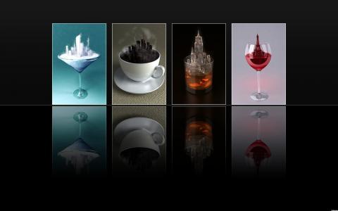 玻璃,咖啡,黑色背景,反射,茶,玻璃,饮料