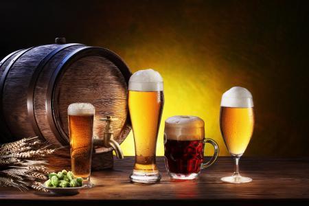 啤酒,桶,玻璃,杯子,耳朵,泡沫,眼镜