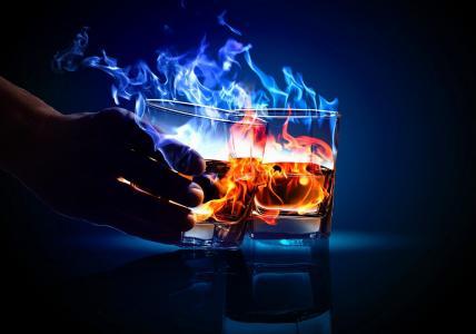 酒精,鸡尾酒,火,美丽