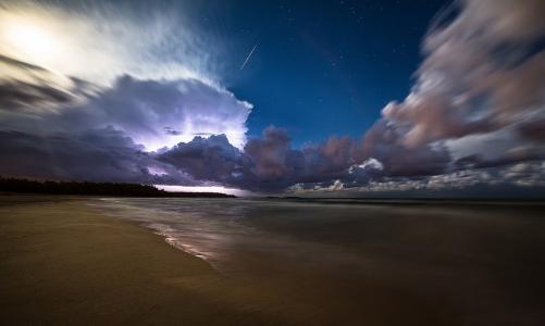 海洋,天空,云,海岸,沙,美女,星星