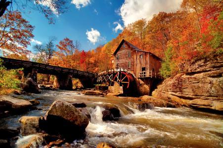 河,石头,watermill,秋天,性质,流量