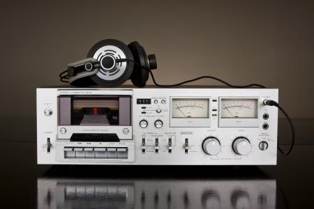 固定式,盒式磁带,录音机,耳机,耳机,卡带,音乐,音乐,播放器,复古