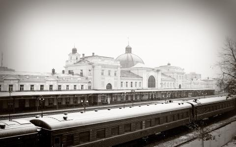雪,冬季,火车,铁路,车站