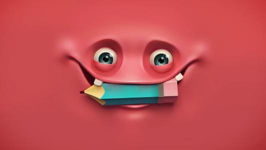 乐趣,酷,3d,红色,眼睛,铅笔,美丽