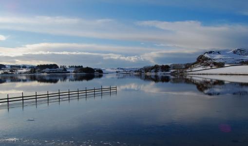 河,雪,冬天