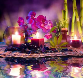 温泉,水疗中心卵石,蜡烛,水,竹子,花,兰花,温泉,温泉石,蜡烛,水,竹子,花,兰花