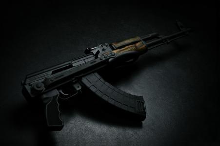 枪,卡拉什尼科夫,武器,照片,黑暗的背景