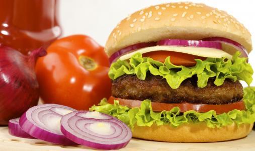 卷,快餐,西红柿,汉堡包,汉堡,快餐