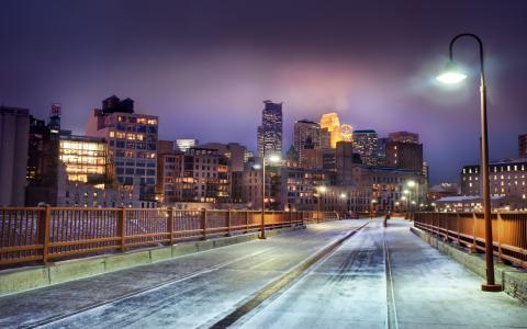 明尼苏达州,明尼苏达州,晚上的天际线,美国,雪,明尼阿波利斯,冬天