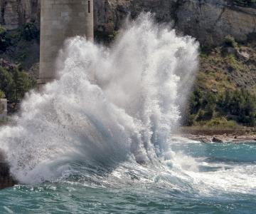 法国,波浪,飞溅,海洋,海岸,美女
