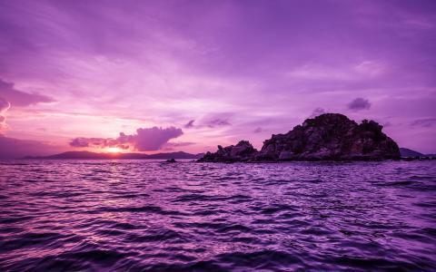 海洋,日落,岛屿,英属维尔京群岛,鹈鹕岛