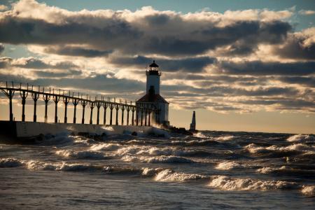 灯塔,天空,海,美丽,波浪,云