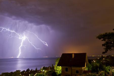瑞士,日内瓦湖,元素,美容,闪电,房子