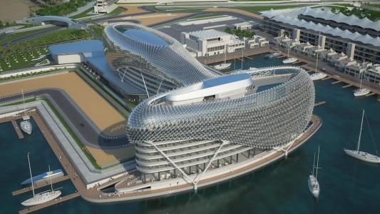 阿布扎比,酒店,建筑,轨道,建筑,公式1,游艇,水,系泊