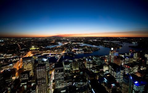 城市,天空,悉尼,天际线,澳大利亚,日落,悉尼