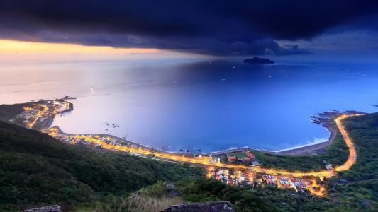 台北县,台湾,台湾,海洋,海湾,城市,云