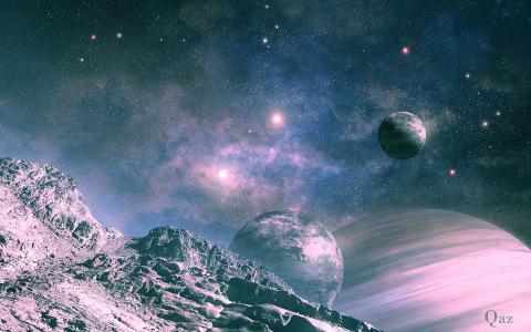 空间,行星,景观,伴侣,艺术,qauz