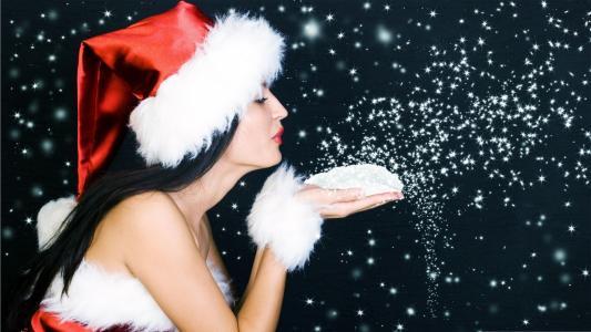 女孩,新的一年,雪