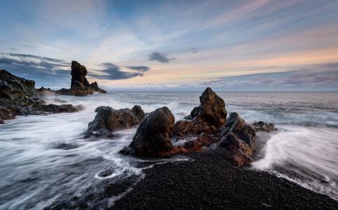 海,石头,海岸,冰岛,冰岛