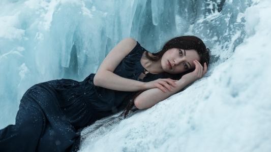 女人,情绪,谎言,冰,雪,忧郁,冷