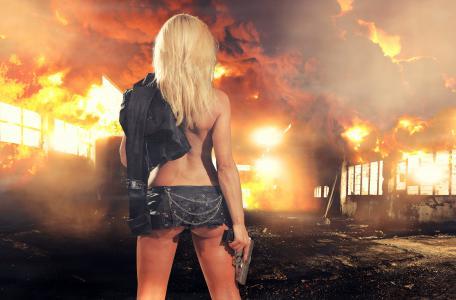 女孩,金发,枪,武器,夹克,链,图,烟,火,火