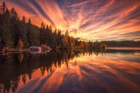 性质,秋季,挪威,照片,奥列Henrik Skjelstad,森林,湖,反射,日落