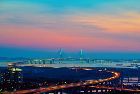 城市,韩国,仁川,灯,桥