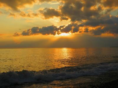 海,日落,海风,波浪,晚上,天空,天空,云,云,夏天,海滩,美丽,太阳