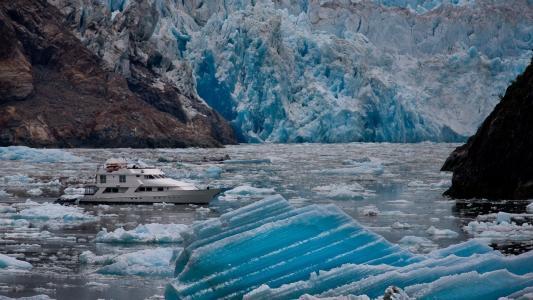 自然,游艇,冰,土地,山脉