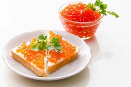 烤面包,红色,三明治,面包,食品,鱼子酱