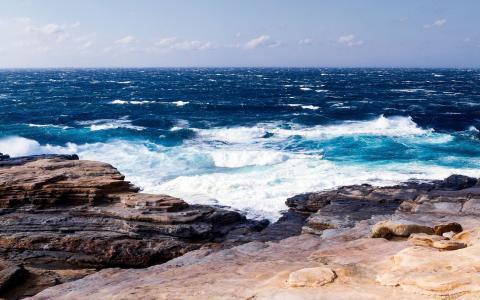 自然,海,岩石,石头,波,风,天空,云,美丽